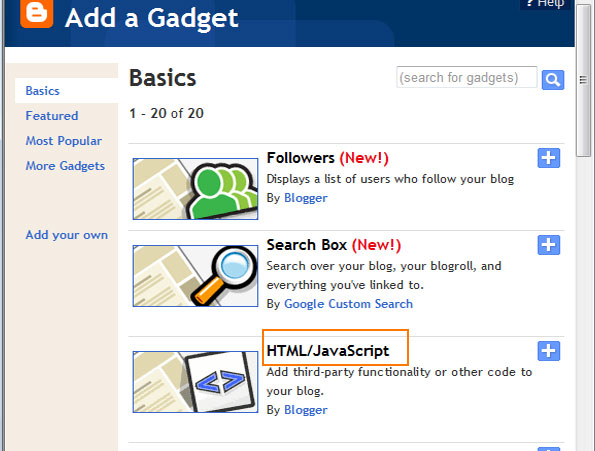 add a Gadget with third party HTML javascript code