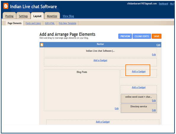 Selecting Layout and adding Gadget to show live chat software Icon