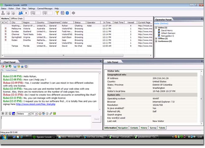 Mioot Live Chat Software screenshot